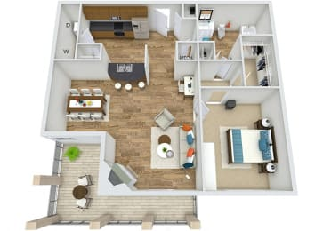 Floor Plan A3 at Rose Heights apartment Raleigh, NC