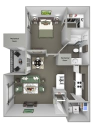 Grand Centennial Floor Plan A1 Eagle's Nest - 1 bedroom 1 bath - 3D