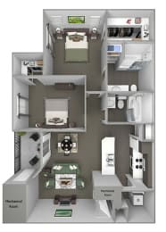 Grand Centennial Floor Plan B2 The Arapahoe - 2 bedrooms 1 bath - 3D