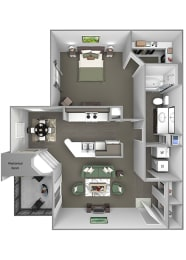 Grand Centennial Floor Plan A3 The Telluride - 1 bedroom 1 bath - 3D
