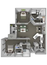 Grand Centennial Floor Plan B3 The Wakonda - 2 bedrooms 2 baths - 3D