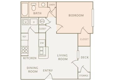 Colony at Deerwood A1 1-bedroom floor plan