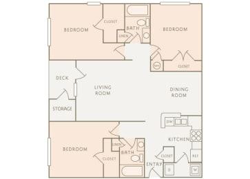 Colony at Deerwood C1 3-bedroom floor plan