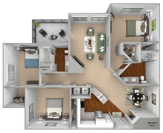 Mountain Shadows Apartments - C1 (Corsica) - 3 Bedroom and 2 bath - 3D Floor plan