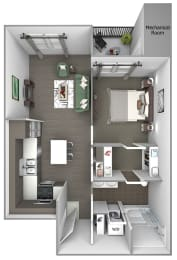 Quinn Crossing - A1 (Newell) - 1 bedroom and 1 bath - 3D floor plan