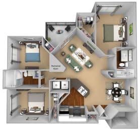 Egrets Landing Apartments - C1 (Preserve) - 3 bedrooms and 2 bath - 3D floor plan