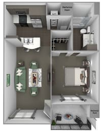 Foothills at Old Town - A1 (Verbena) - 1 bedroom and 1 bath - 3D floor plan