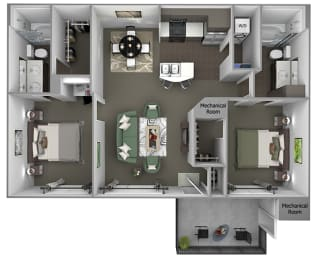 Foothills at Old Town - B2 (Sage) - 2 bedrooms and 2 bath - 3D floor plans