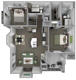 Foothills at Old Town - B4 (Manzanita) - 2 bedrooms and 2 bath - 3D floor plan