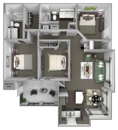 Foothills at Old Town - C1 (Toyon) - 3 bedrooms and 2 bath - 3D floor plan