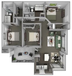 Foothills at Old Town - C1a (Madrone) - 3 bedrooms and 2 bath - 3D floor plan