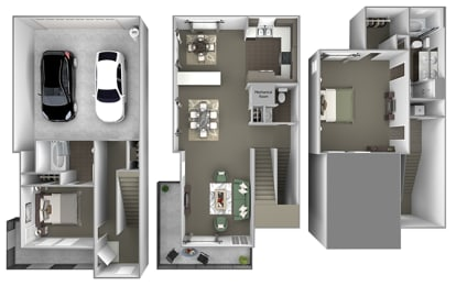 Foothills at Old Town - th-H1 (Blue Oak) - 2 bedrooms and 2.5 bath - 3D floor plan