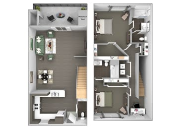 Hills of Valencia Apartments - B3 Townhouse - 2 bedrooms and 2 bath - 3D