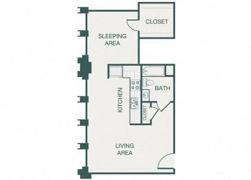 The Kirby - A7 - The Akard - 1 bedroom - 1 bath