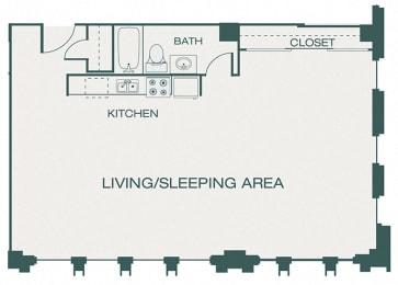 The Kirby - A8 - The Marcus - 1 bedroom - 1 bath