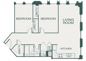 The Kirby - B0 - The Pearl - 2 bedrooms - 1 bathroom