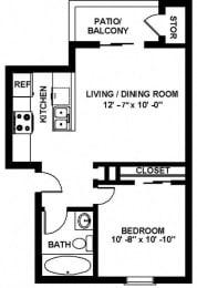 A2 1x1 Floor Plan, at Copper Ridge Apartments, WA 98055