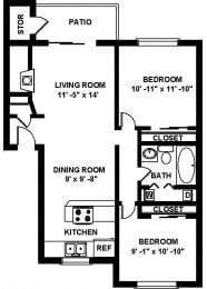 B2 2 bedroom 2 bathroom Floor plan at Copper Ridge Apartments, Renton, Washington