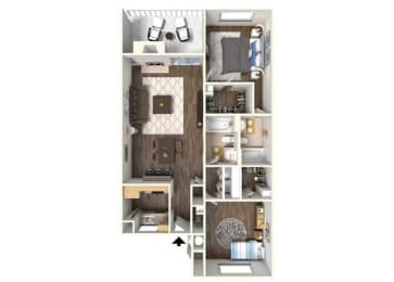 The Maple 2x2  floor plan. for rent at Kirker Creek in Pittsburg Ca