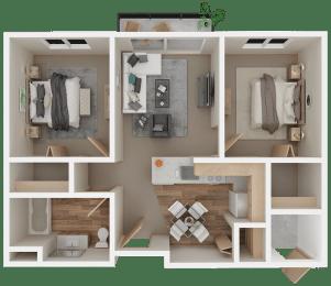 Floor Plan 2Bed 1Bath