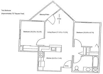 2 bed Floor Plan Vintage at Bennett Valley Senior 2 bed Apartments Vintage at Bennett Valley l Santa Rosa, Ca