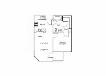 One Bedroom Floor Plan  Vintage at Bouquet Canyon Senior Apartments l Santa Clarita Ca