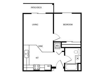 One Bedroom floor plan. Tacoma, Wa Senior Apartments 98409 l Vintage at Tacoma