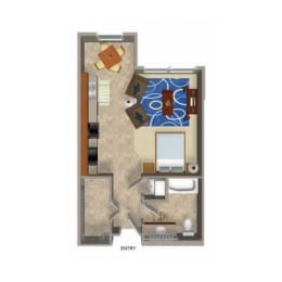 Studio 3 Floor Plan, at Beaumont Apartments, 14001 NE 183rd Street, WA