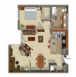 One Bedroom One Bathroom Floor Plan, WA