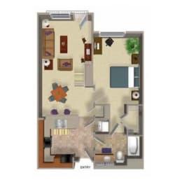 One Bedroom One Bathroom Floor Plan, at Beaumont Apartments, 14001 NE 183rd Street, Washington