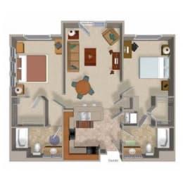 Two Bedroom Two Bathroom Floor Plan, Beaumont Apartments Woodinville, Washington