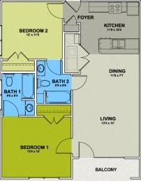 Image of Fisher Park Floor Plan 2 Bed 2 Bath