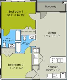 Two Bed Two Bath Floor Plan at Greenway at Stadium Park, Greensboro, NC