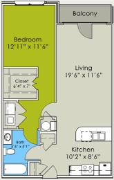 One Bed One bath Floor Plan at Greenway at Stadium Park, North Carolina