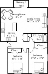 Floor Plan Two Bedroom One Bathroom