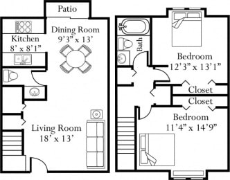 Floor Plan Two Bedroom One and a Half Bathroom