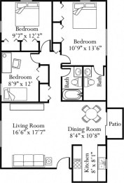 Floor Plan Three Bedroom Two and a Half Bathrooms