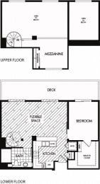 Floor plan at Trio Apartments, California