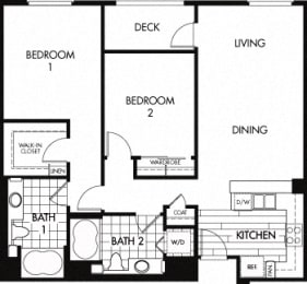 Floor plan at Trio Apartments, Pasadena, CA