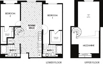 Floor plan at Trio Apartments, Pasadena, California