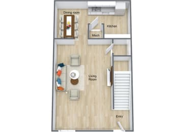 Floor Plan 1 Bedroom 1 Bath Loft, opens a dialog