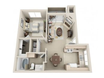 1 Bed 1 Bath a1 Floor plan, at Lakeview at Superstition Springs, Mesa, AZ