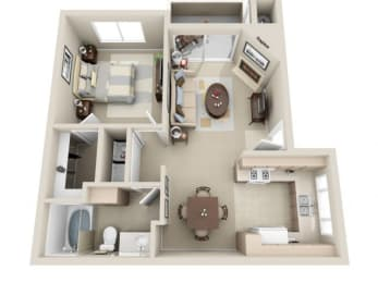 1 Bed 1 Bath a2 Floor plan, at Lakeview at Superstition Springs, Mesa, 85206