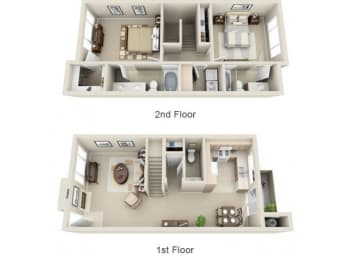 2 Bed 2.5 Bath B5 Floor plan, at Lakeview at Superstition Springs, 1849 South Power Road
