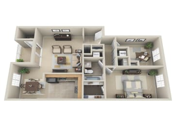 Floor Plan 1 BDRM W DEN