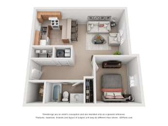 705 sq.ft. One Bed One Bath