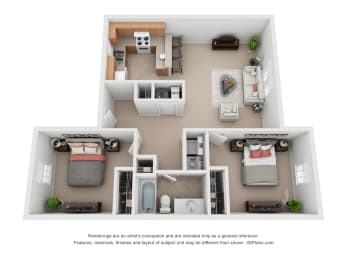 825 sq.ft. Two Bed One Bath