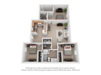 1065 sq.ft. Three Bed Two Bath