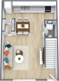 Floor Plan 1 Bedroom 1 Bath Townhome, opens a dialog