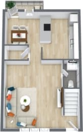Floor Plan 2 Bedroom 1 1/2 Bath Townhome, opens a dialog